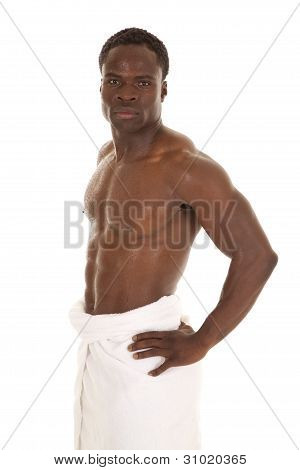 Man Stand Wet Towel