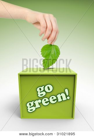 Ecology Voting Box With Hand And Leaf