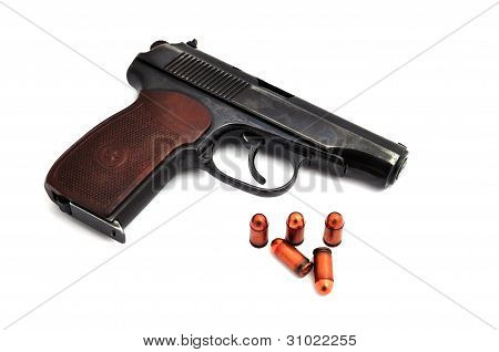 Steel Pistol And Bullets