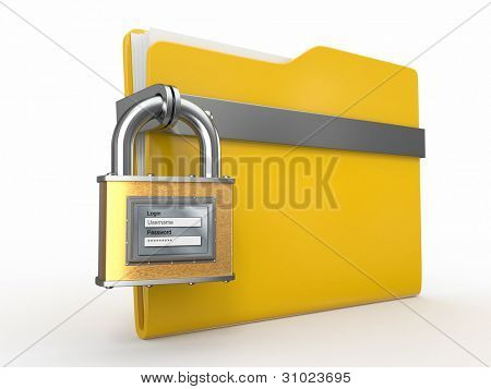 Confidential files. Folder and padlock with login and password