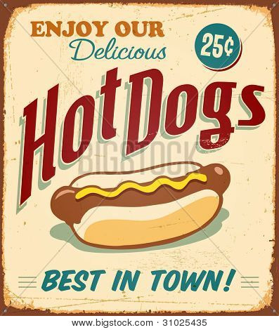 Vintage metal sign - Hot Dogs - Raster Version