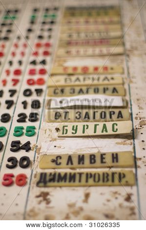 Train timetable board in a foreign country