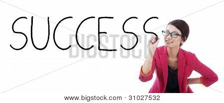 Businesswoman With The Word Success