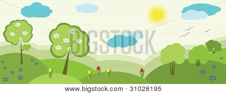 Nature banner, vector.