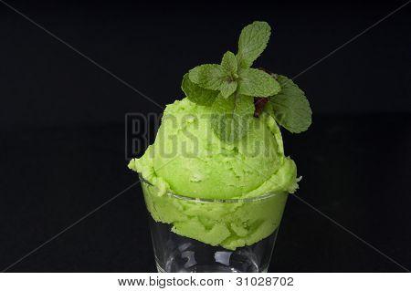 delicious mint ice cream black background