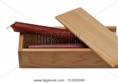 Wooden Box With Candles.