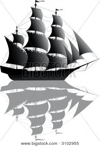 Black Ship Isolated On White