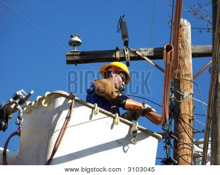 Power Worker In A Lift Bucket