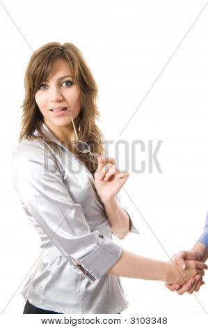 Handshake. Young Business Woman Smiling.