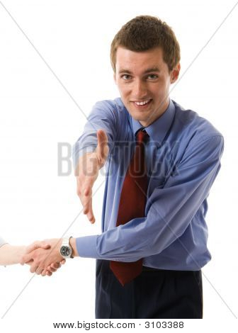 Handshake. Young Business Man Offers Hand Shake And Smiling.
