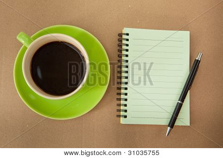 Green Cup And Note Paper