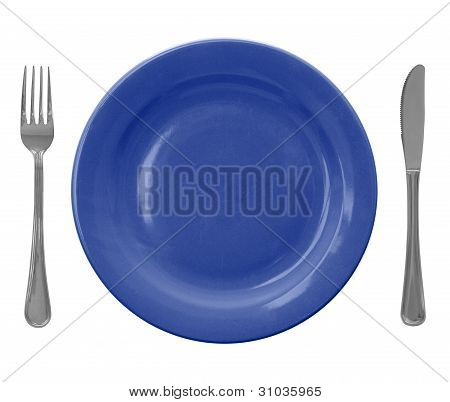 blue empty plate with fork and knife