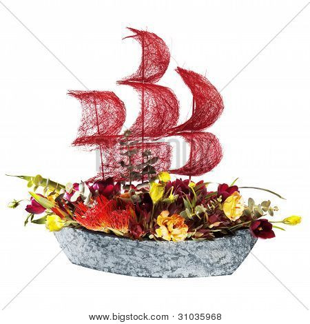 decoration flowers ship with crimson sails