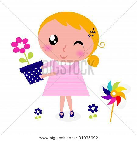 Cute Spring Girl With Flower Isolated On White