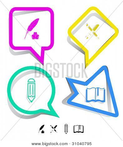 Education icon set. Ink pen and pencil, pencil, feather and ink bottle, book. Paper stickers. Vector illustration.