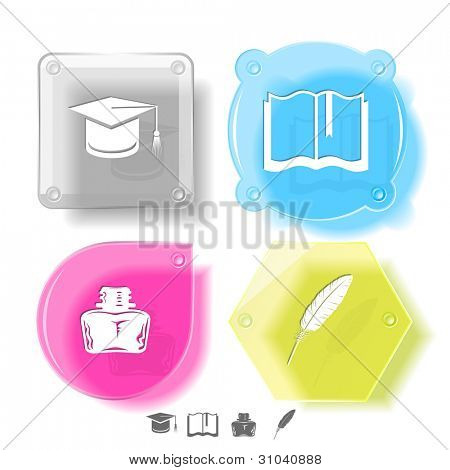 Bildung-Icon-Set. Graduation Cap, Buch, Lake, Feder. Glas-Tasten. Vektor-Illustration. EPS