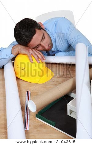 Architect sleeping on the job