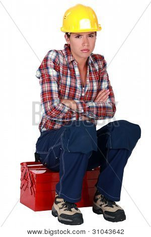 Irked construction worker