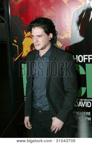 HOLLYWOOD - JANUARY 25: Kit Harrington arrives at the Los Angeles premiere of HBO's drama series