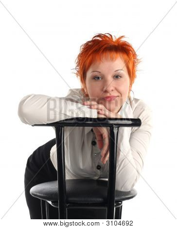 Business Woman And Chair Isolaited On White Background