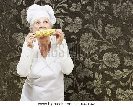 senior woman cook eating a corncob against a vintage background