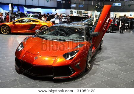 GENEVA - MARCH 12: Mansory Lamborghini Aventador LP700-4  on display  at 82nd International Motor Show on March 12, 2012 in Geneva, Switzerland