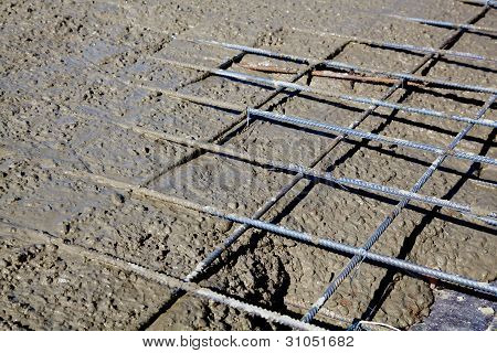 Rebar grids during concrete pouring
