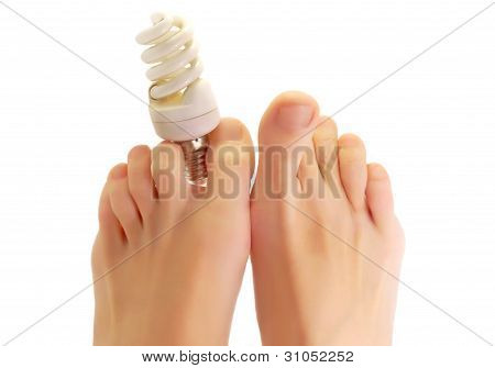 Fluorescent lamp in Foot fingers
