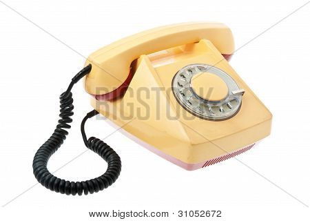 Old Grunge Yellow With Red Telephon.