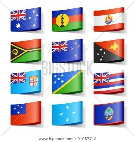 World flags. Oceania. Vector.