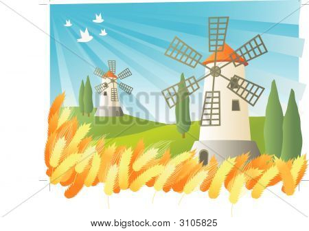 Landscape Illustration Of Two Windmills