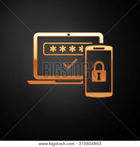 poster of Gold Multi Factor, Two Steps Authentication Icon Isolated On Black Background. Vector Illustration