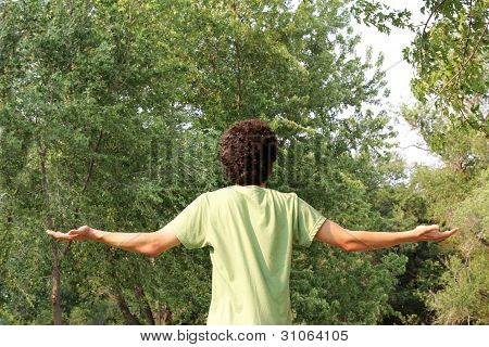 A Spiritual Young Man Worships