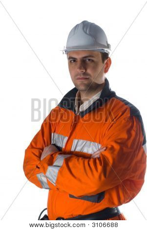 Confindent Engineer Isolated On White Background