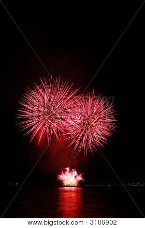 Fiery Red Fireworks
