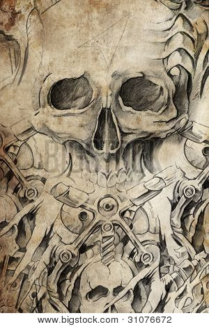 Tattoo design with skull on antique paper