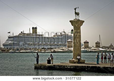Cruise Ship At Rhodes