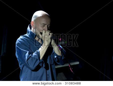 NEW YORK - MAR 16:  Anthony Thistlethwaite of the Saw Doctors on harmonica at Irving Plaza on March 16, 2012 in New York City. Thistlethwaite was a founding member of The Waterboys.