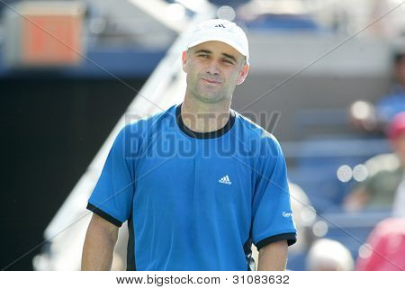FLUSHING, NY - SEPT 1: Andre Agassi stands during his match against Ivo Karlovic in the second round of the US Open on September 1, 2005 in Flushing, New York . Agassi won 7-6, 7-6, 7-6.