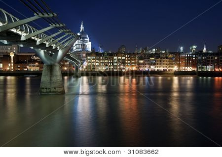 Long Exposure Of St Paul's Cathedral In London At Night With Reflections In River Thames