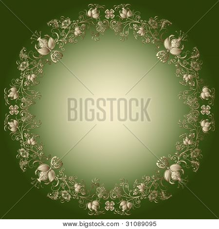 Green-gold Easter Frame