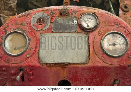 Clsoe Up Of Control Panel On Old Excavator Heavy Plant Machinery