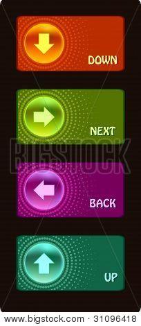 Colored glassy button.