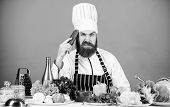 Hipster Chief Chef Vegetarian Cafe. Vegetarian Recipe Concept. Choose Vegetarian Lifestyle. Man Cook poster