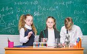 Chemistry Equipment. Students Doing Biology Experiments With Microscope In Lab. Little Kids Learning poster