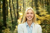 Autumn Happy People. Surprise Woman. Romantic Woman Wearing Pullover On Autumn Leaves Background. Au poster
