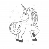Funny And Hapy Outlined Cartoon Style Unicorn poster