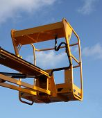 pic of cherry-picker  - The Yellow Cage of a Low Level Cherry Picker - JPG