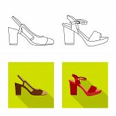 Bitmap Design Of Footwear And Woman Sign. Set Of Footwear And Foot Stock Symbol For Web. poster