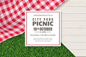 Picnic Poster Or Banner Design Template. Vector Background With Realistic Red Gingham Plaid Or Table poster